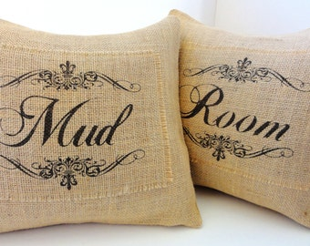 Burlap Pillow Covers- Mud Room-Vintage Inspired, Shabby Chic, Rustic, Cottage and French Decor, Personalize With Your Own Words