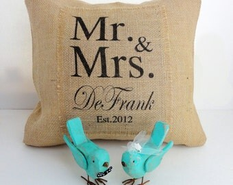 Mr and Mrs Burlap Pillow Cover with Name and Date for Engagements, Weddings, Bride and Groom