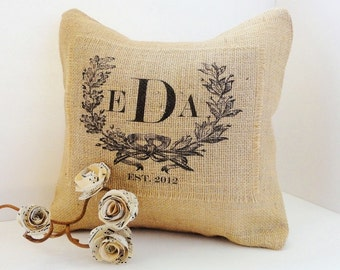 Monogram Crest with Est. Date Burlap Pillow,  for Vintage Inspired, Shabby Chic, Cottage and French Decor