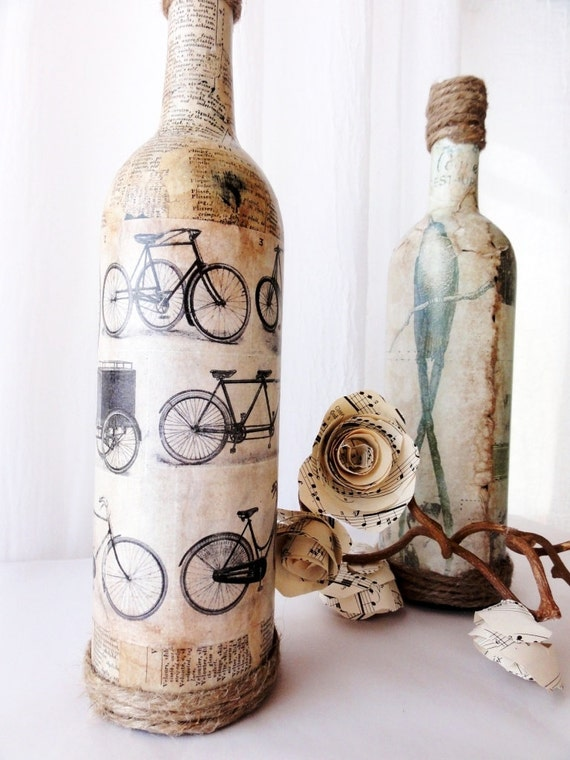 Items similar to les bicyclettes vintage bottle vase for Unique things for home decor