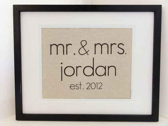New- Modern Font Cotton Anniversary Gift-  Mr. and Mrs. Announcement, Perfect for Weddings, Engagements, Showers, Announcement