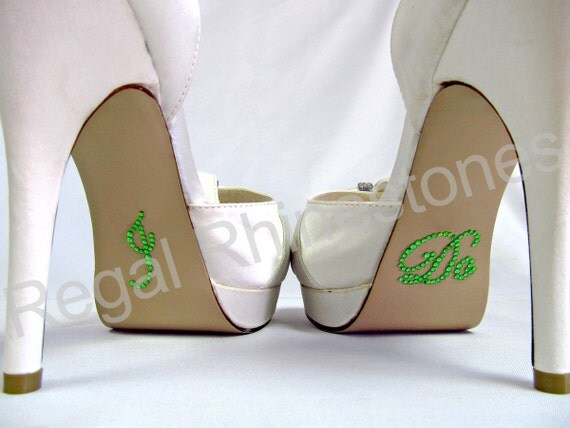 I Do Shoe Stickers: LIME GREEN SCRIPT Rhinestone I Do Wedding Shoe Stickers - I Do Shoe Appliques - Rhinestone I Do Decals for Bridal Shoes
