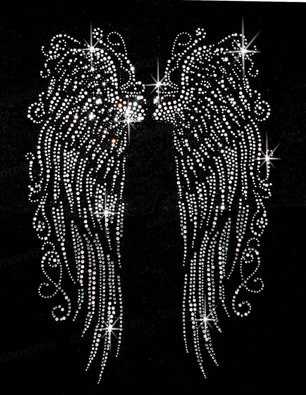 Fancy Scroll Rhinestone Transfer Angel Wings by RegalRhinestones