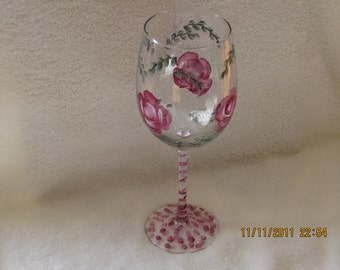 Wine glasse with red and white green leaves Roses  hand painted