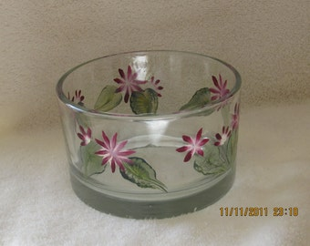 Candy dish with wildflowers/green leaves hand painted