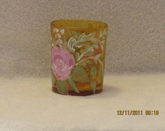 Candle holder with pink Roses  hand painted
