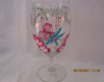 Wine glass with flowers and dragonfly hand painted