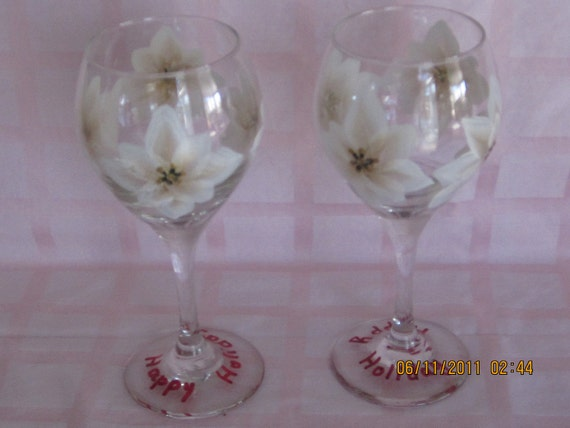 Wine Glasses white with gold Pointsetter hand painted very unique