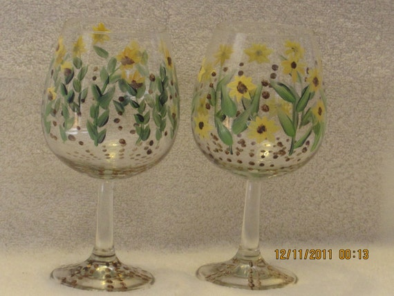 Wine glasses hand painted