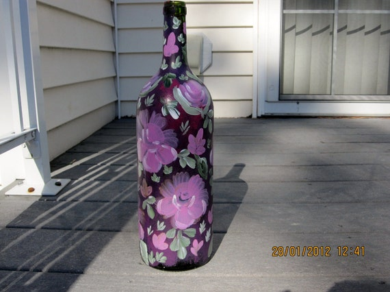 Hand painted Wine bottle with lights and pink,white roses