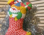Vintage Fabric Christmas Stocking Stuffed Plush Ornament