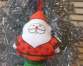 Vintage Fabric Santa Stuffed Plush Ornament