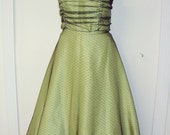 Held for Dita ----- Lime Green and Tulle Strapless Dress