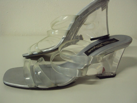 Clear  Wedge Heeled Sandals By Toe Ropes 7.5 or 8