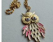 Articulated Owl Necklace: Pendant, Pink Enamel, Funky, Retro, Vintage Necklace