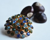 Rhinestone Brooch: Dome, Blue, Green, Retro, Vintage