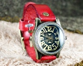 Leather Watch  ,Red leather ,vintage,classical, WN02-7