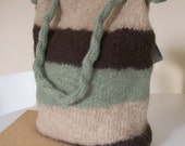 Tan Brown Green and Dark Chocolate Brown Striped Felted Bag Purse