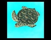 Sea Turtle Magnet - Ocean Life Animal, wildlife, Dark green, tan shell, swimming, aqua water