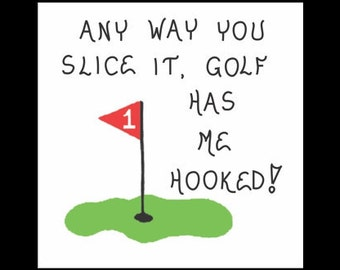 Golf magnet - Golfer, humorous golfing quote, putting green, red flag
