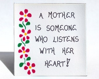 Magnet for Mother - Quote, mom, mommy, pink cascading flowers