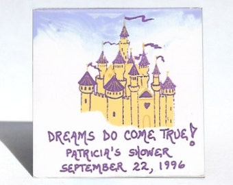 Wedding Favor Magnet, Save the Date, Bridal Shower, personalized names, date, message, Tan castle, purple turrets and flags.