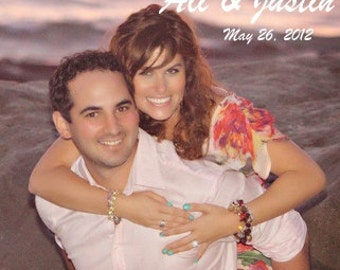Photo Wedding Favor Magnet, custom message, Sample