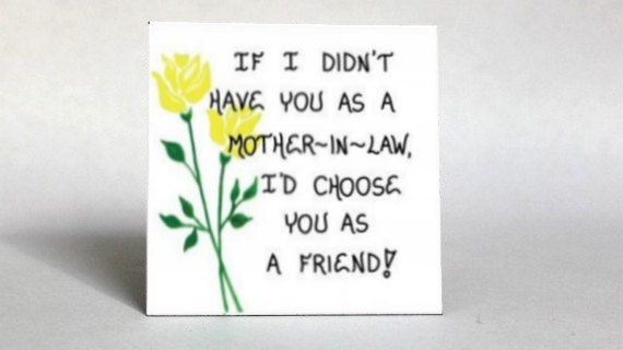 Mother-in-Law Magnet - Quote - spouses mom, friendship, husband, wife, parent, Yellow tulips