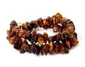 Dark amber bracelet, natural brown double winder