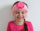 Lovely Knit Headband, Earwarmer with Pink Flower - Baby, Toddler, Child