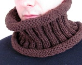 Chunky Knit Cowl, Neck Warmer, Chocolate Brown Vintage Tweed Look, Autumn Accessories