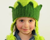St. Patrick's Day Hat, Green Forest Princess, Fairy, Girl's Hand Crochet Hat with Crown