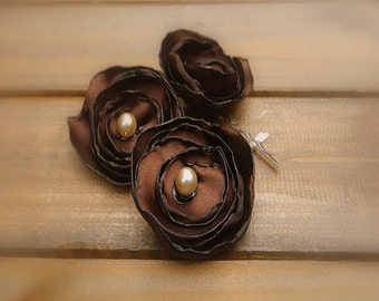 Chocolate Truffle, Wedding Flower Hair Bobby Pins- Brown Flower Hair Pins- Bridal Accessories