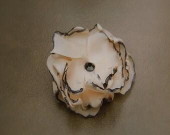 Burlesque, Wedding Flower Hair Clip- Ivory Flower Hair Pins- Bridal Accessories