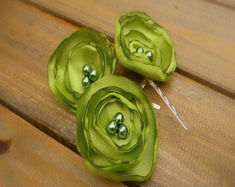 Sour, Wedding Flower Hair Bobby Pins- Lime Green Flower Hair Pins- Bridal Accessories