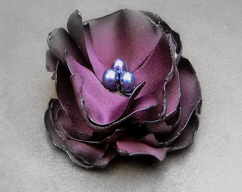 Phantom, Wedding Flower Hair Clip-Purple Flower Hair Pin- Bridal Accessories