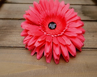 Watermelon, Wedding Flower Hair Clip- Fuschia Flower Hair Pin- Bridal Accessories