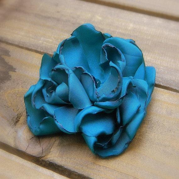 Peacock, Wedding Flower Hair Clip- Teal Flower Hair Clips-Bridal Accessories