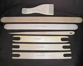 Wooden 7 pcs. weaving tools set. Comb,Shuttles,Weavers Sward amd weavers needle