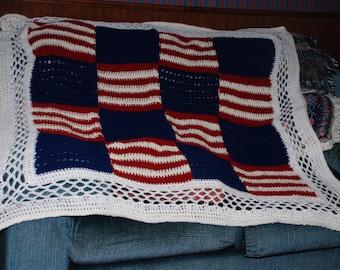 Patriotic Crochet FLAG AFGHAN
