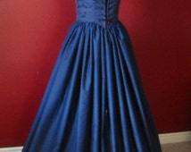 Navy Blue Renaissance Bodice and Skirt Dress or Costume Made to Fit YOU!
