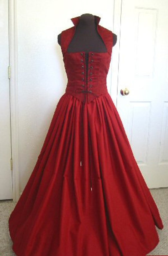 Blood Red Renaissance Bodice and Skirt Dress MADE for You!