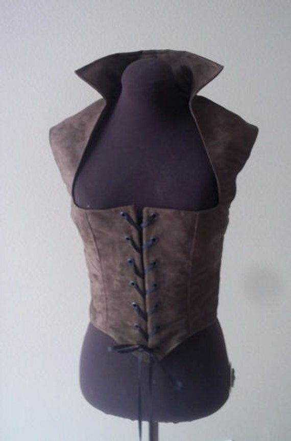 Brown Suede Renaissance Gothic Bodice 39in bust and 34in waist