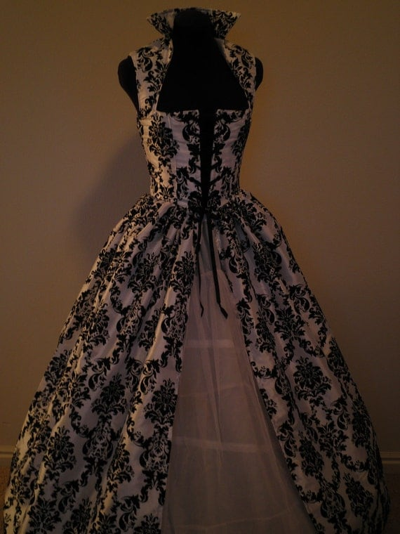 Black and White Fantasy Renaissance Over Gown Dress 30in bust 26in waist READY to SHIP