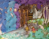 Fairytale Illustration in silk - made to order