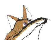 Fox and Fly- original ink blot illustration 5 x 7