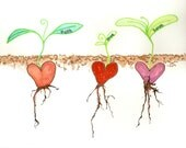 """Custom """"What grows from your heart""""- 8 x 10 original ink blot illustration art"""