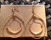 Pretty Gold Hoop Earrings with Coral Stones, by Gemma's Designs