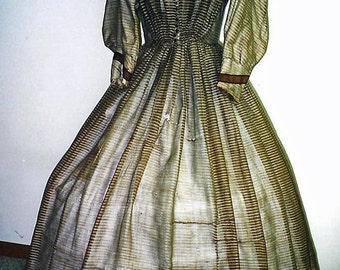 1850-60s Brown Barge Fan-Front Bodice