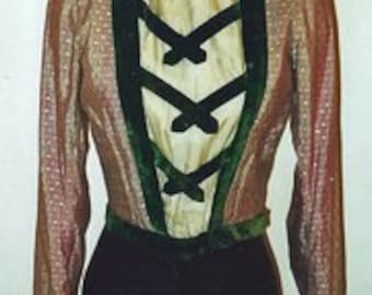 1890s Burgundy and Green Bodice